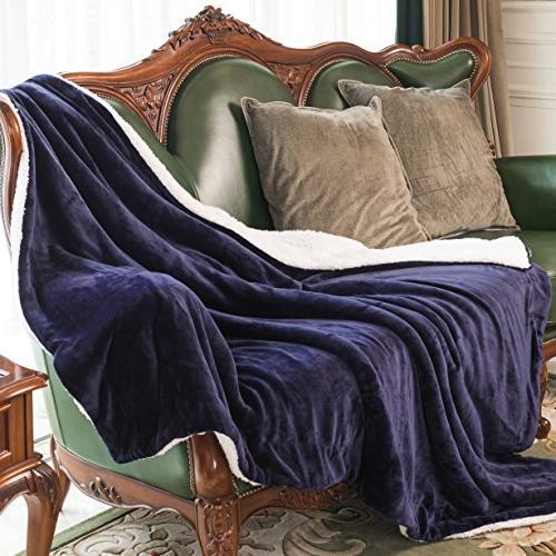 HoroM Blanket Navy Microfiber Reversible Soft Fluffy and Blankets