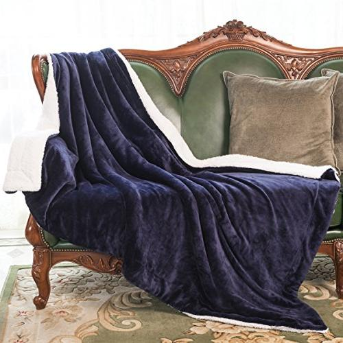 """HoroM Navy Blue 60""""x80"""" Reversible Soft and Blankets Bed or Couch"""