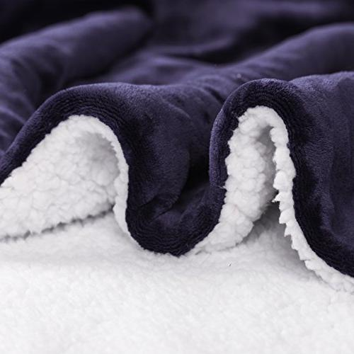 HoroM Sherpa Navy Reversible Luxury Soft Cozy Fluffy Bed Couch
