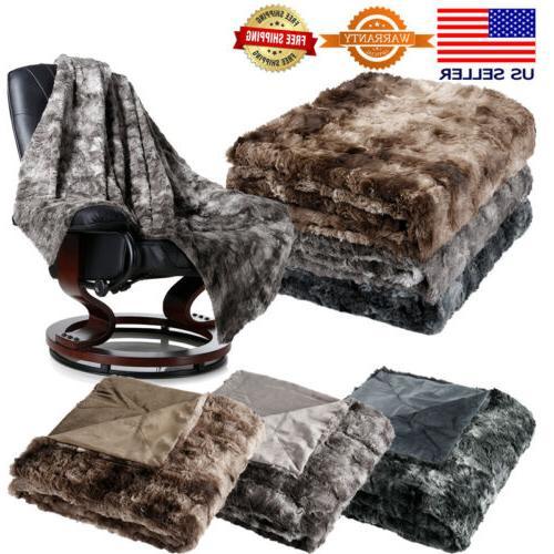 soft flannel faux fur fleece blanket throw