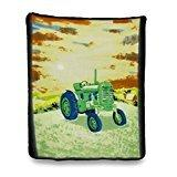 Soft Green Country Farm Tractor Fleece Throw Blanket 60 X 50