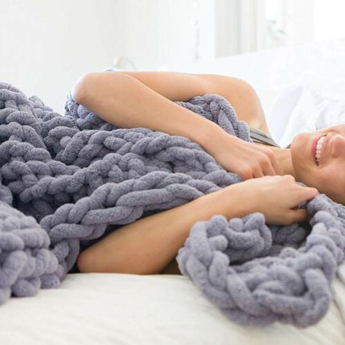 Soft Handmade Chunky Blanket Thick Line Knitted Throw US