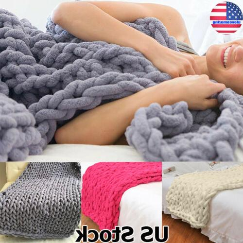 soft handmade chunky knitted blanket thick line