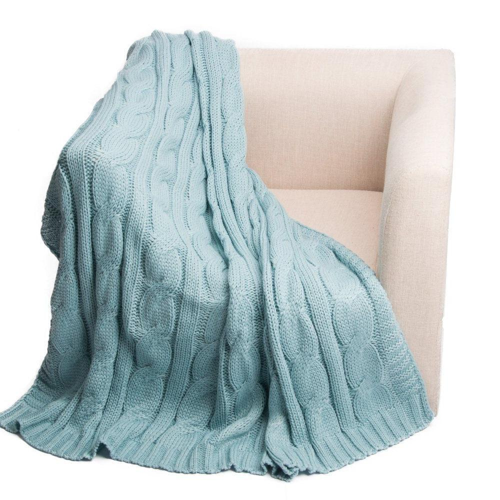 soft knitted dual cable throw blanket 50