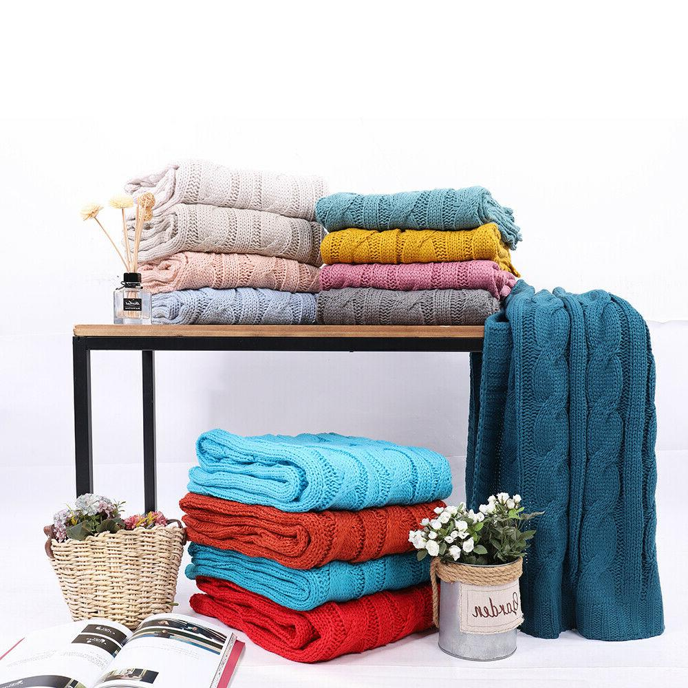 soft knitted eastin dual cable throw blanket