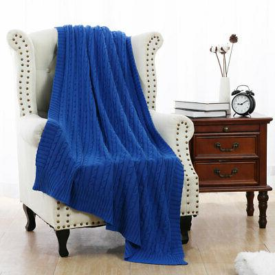 Soft Throw Bed Couch Cable Knit
