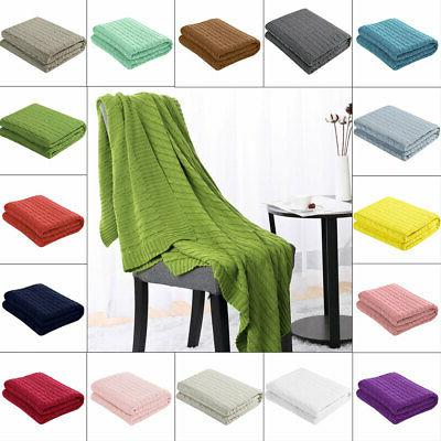 soft knitted throw blanket bed sofa couch
