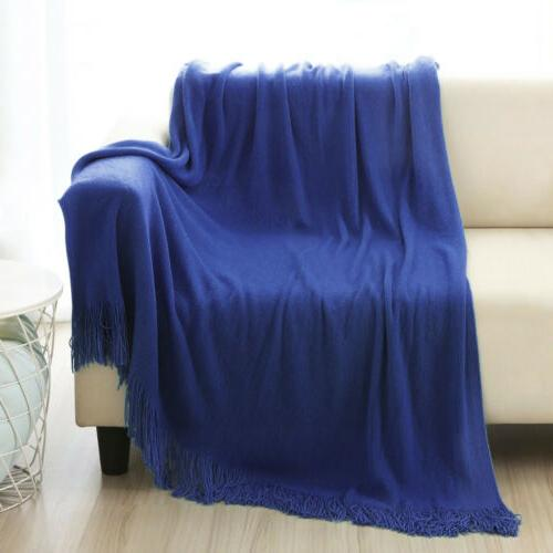 Soft Knitted Blanket Bed Bed Couch
