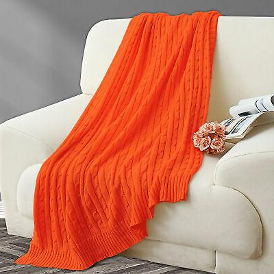 Soft Knitted Throw Bed Sofa Couch Cable Knit Pattern Washable
