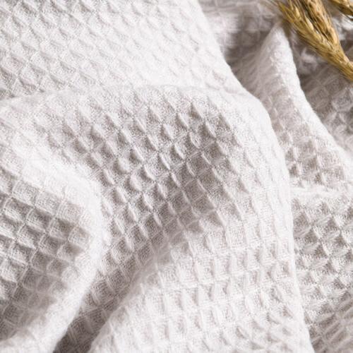 Soft Knitted Throw Bed Sofa Fringe Waffle