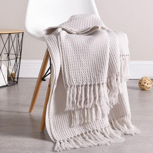 waffle weave knitted throw blanket soft textured
