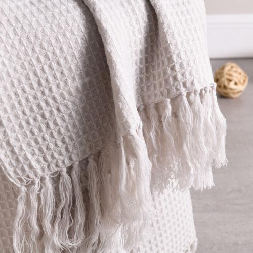Soft Warm Blanket Sofa Couch Decorative Waffle