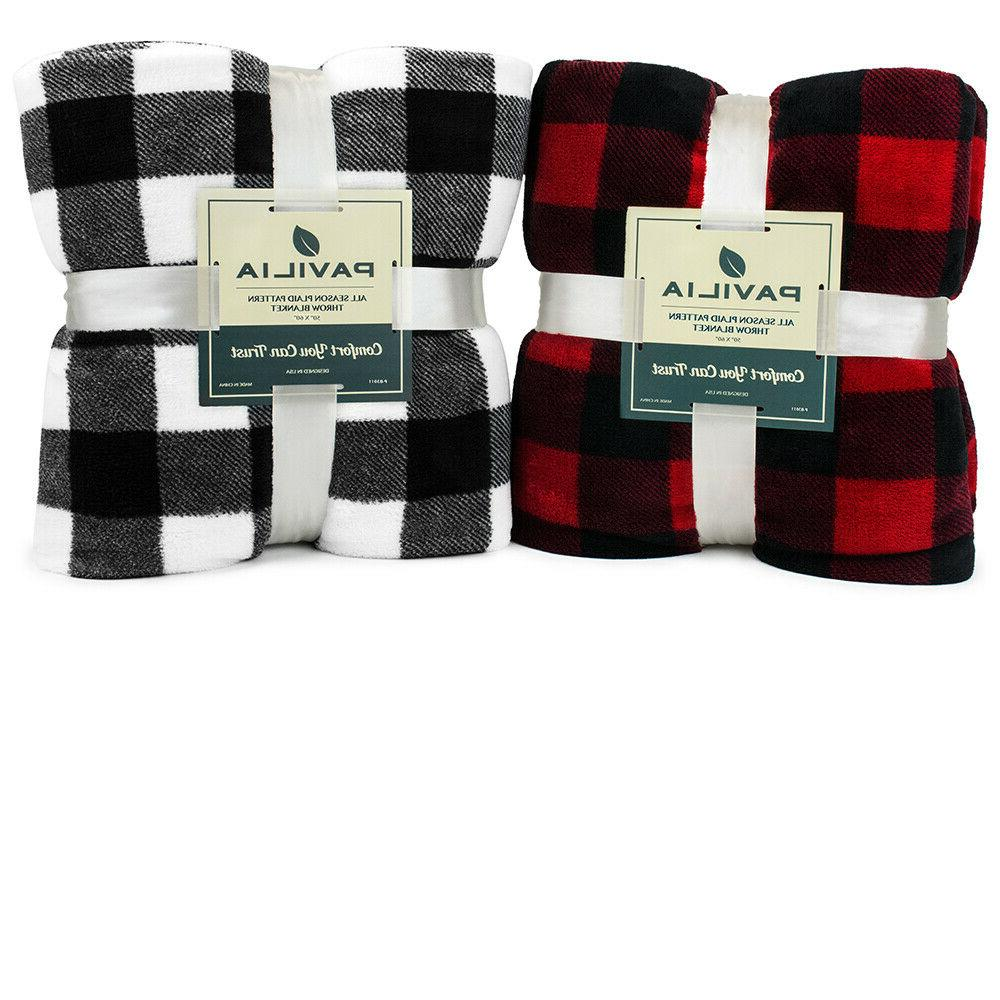 Checkered Throw Blanket Soft Plush Fuzzy Plaid Accent Bed