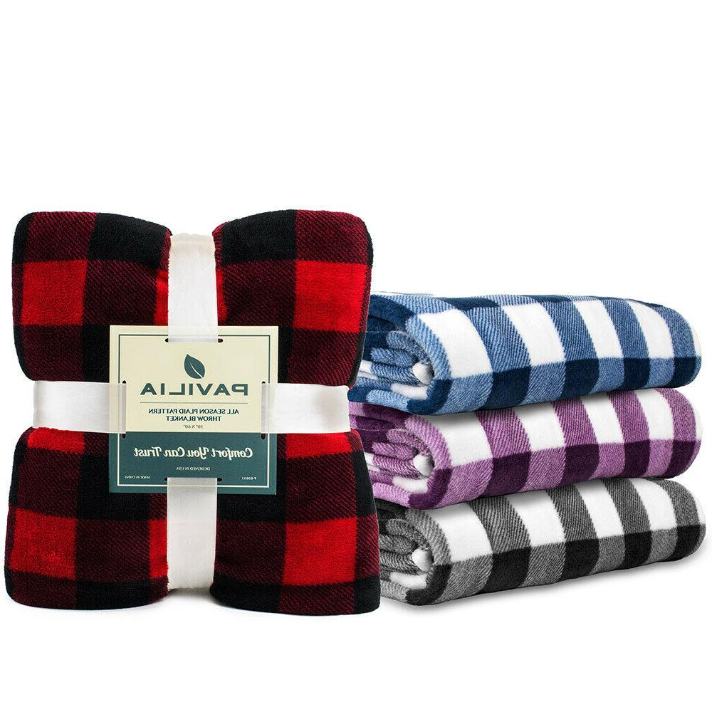 Checkered Throw Soft Plaid Accent Bed Blanket