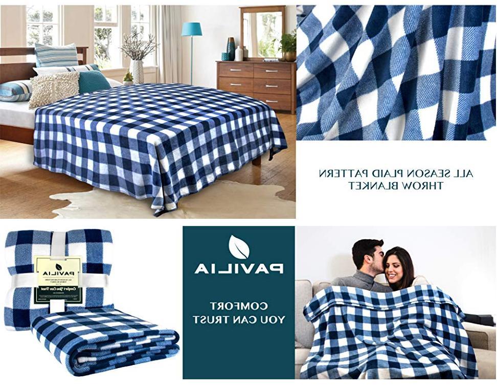Checkered Fleece Throw Soft Plush Classic Plaid Bed