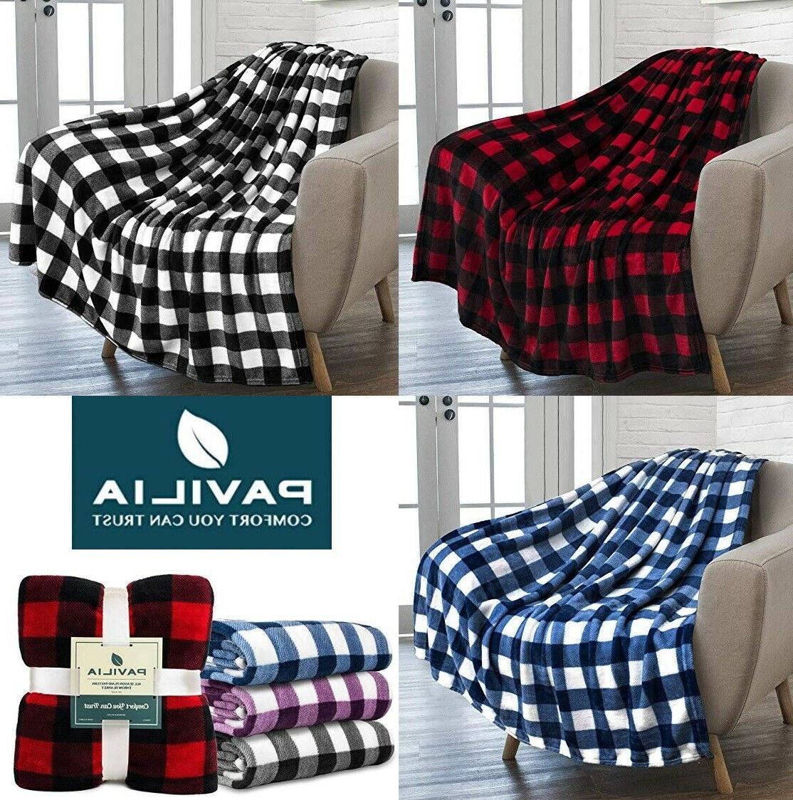 soft lightweight microfiber fleece plaid throw blanket