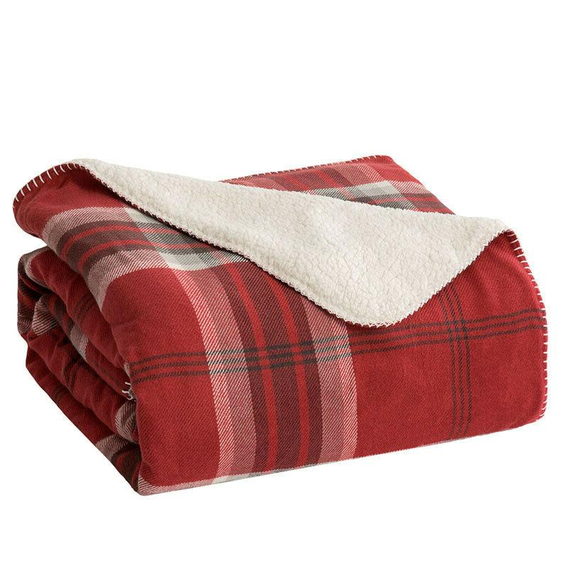 Bedsure Plaid Sherpa Throw Blanket Blanket for