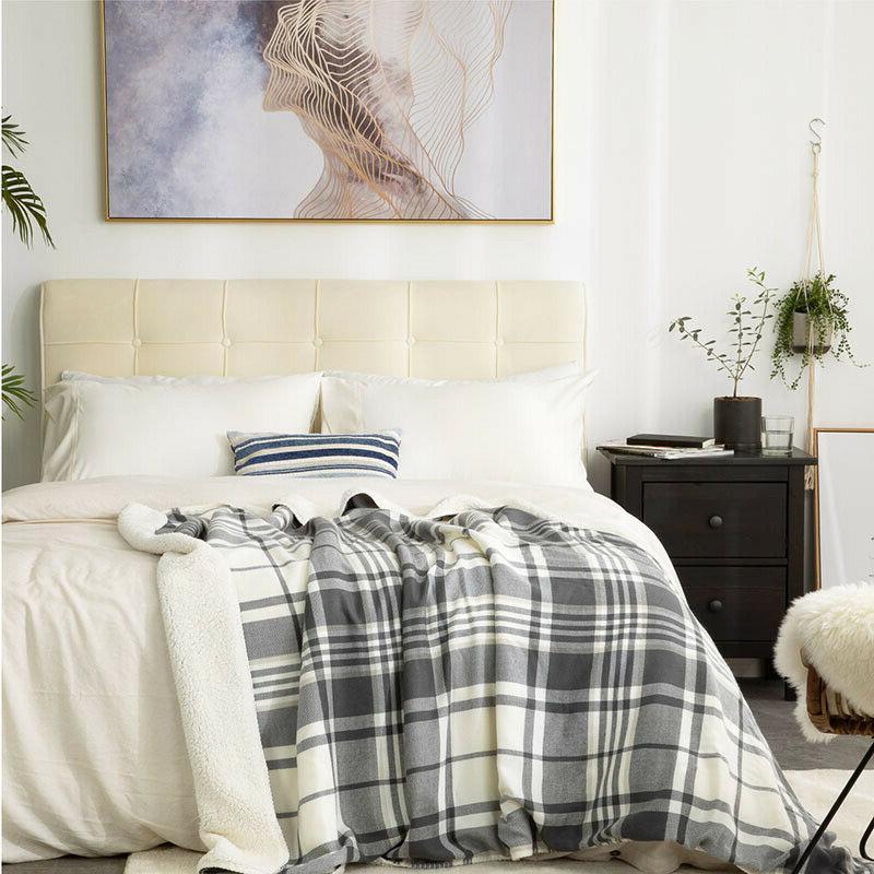 soft lightweight plaid sherpa throw blanket fleece