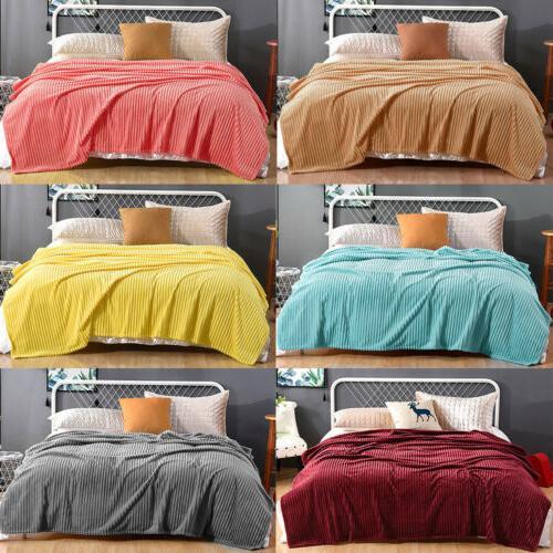soft stripped flannel fleece throw blanket lightweight