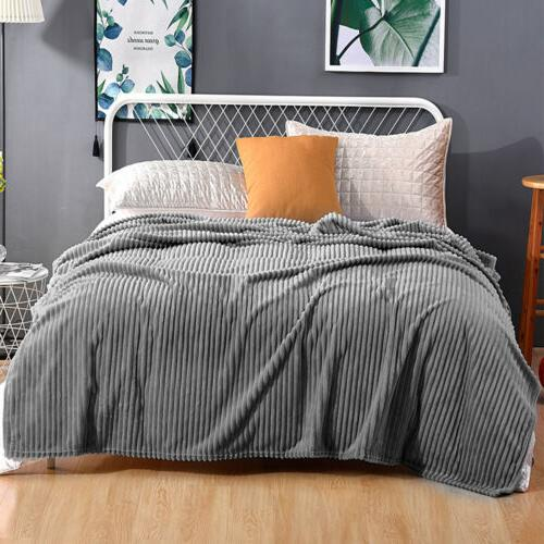 Soft Stripped Flannel Fleece Throw Couch