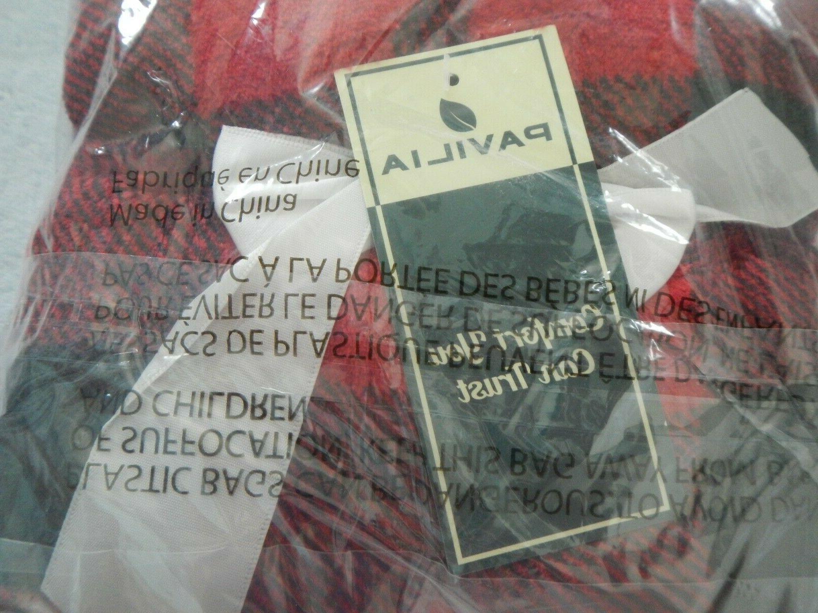 PAVILIA THROW BLANKET - BLACK RED - X - P-B3011
