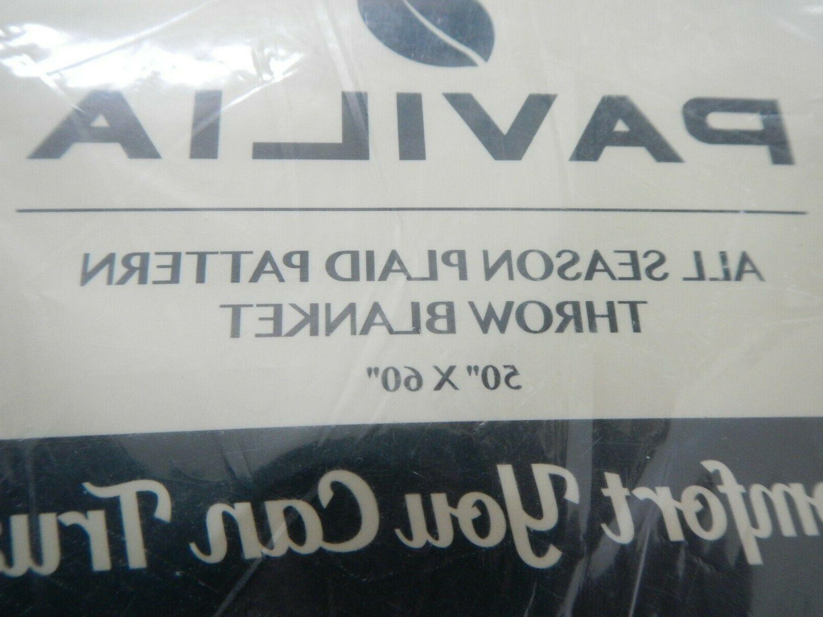 "PAVILIA - BLANKET - BLACK & RED PLAID X 60"" - -"