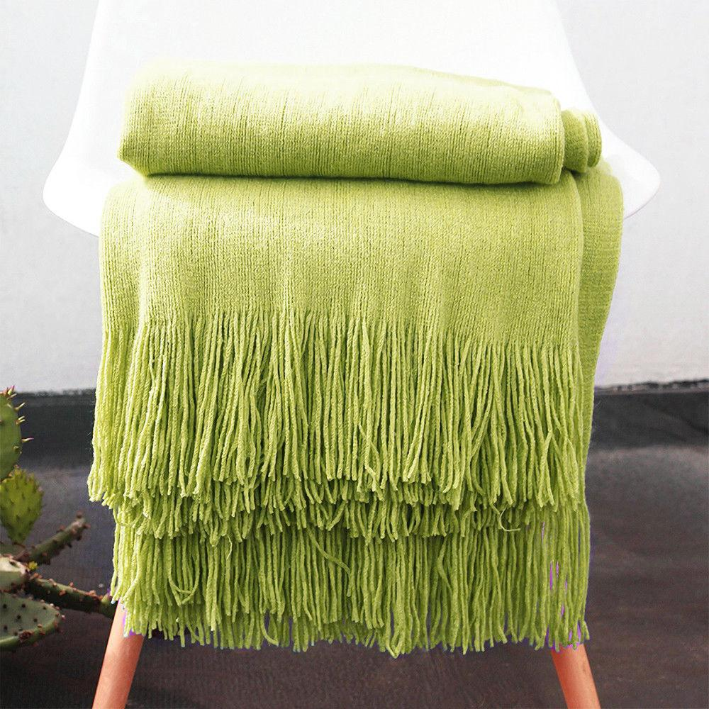 Soft Throw Blanket Warm Knit Textured Solid for Bed Sofa Couch 50