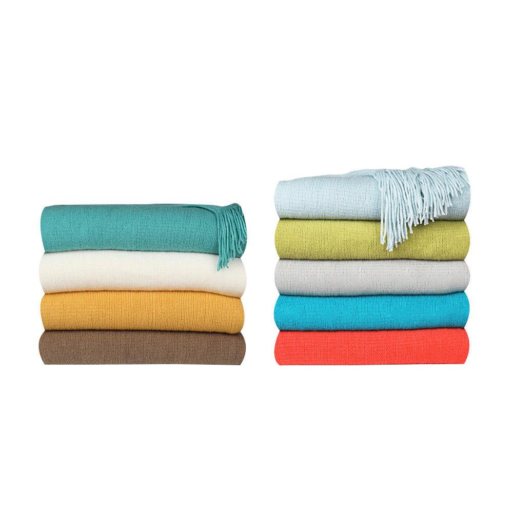 Soft Blanket Knit Textured Solid for Bed Sofa Washable 50