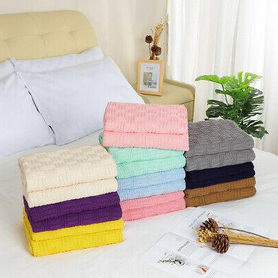 Soft Warm Cotton Cable Knit Throw Blanket for Couch Home