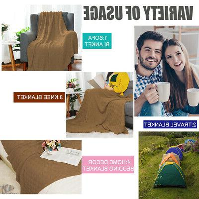 Large Soft Throw Blanket Warm Cable Textured for Bed Sofa Washable