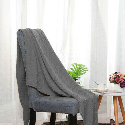 Soft 100% Cable Blanket for Couch Bed Home Decor