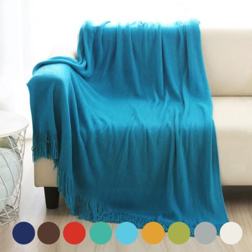 """Soft Warm Blanket Solid Cable Throw Home 50""""x60"""""""