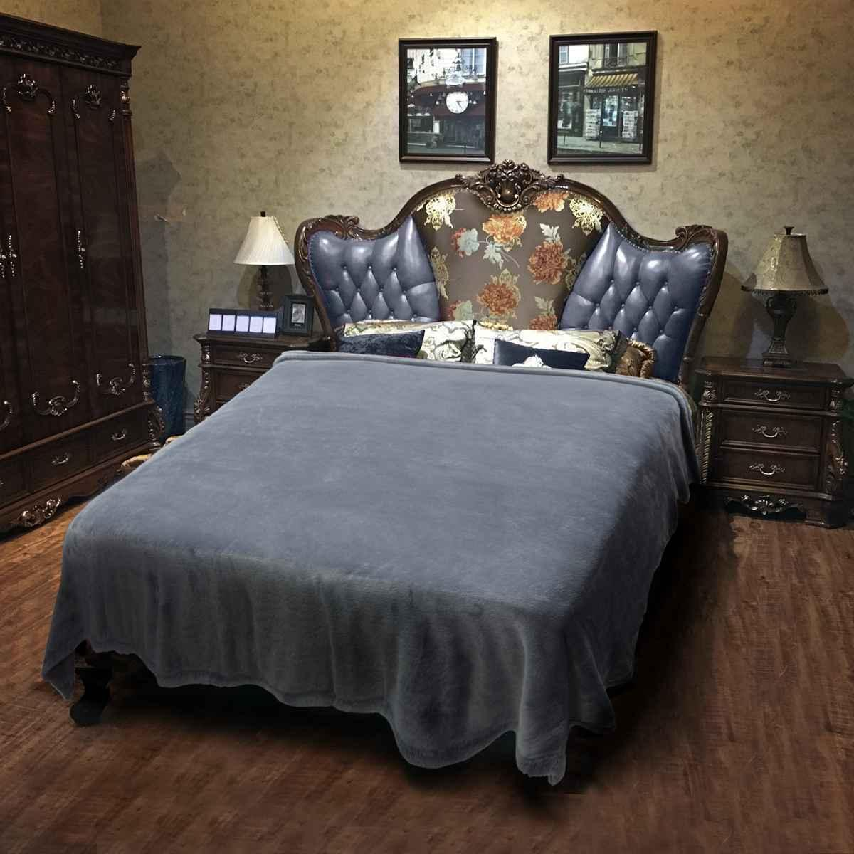 """Soft Warm Blanket Solid Throw Flannel Blanket Bed Home 90""""X90"""""""
