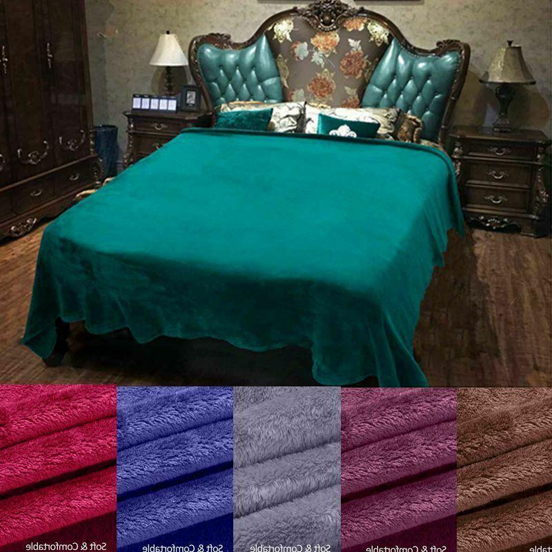 soft warm plush fleece blanket solid throw