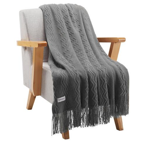 LANGRIA Pattern Knitted Throw Blanket