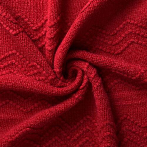 LANGRIA Soft Warm Pattern Tasseled Fringe Throw
