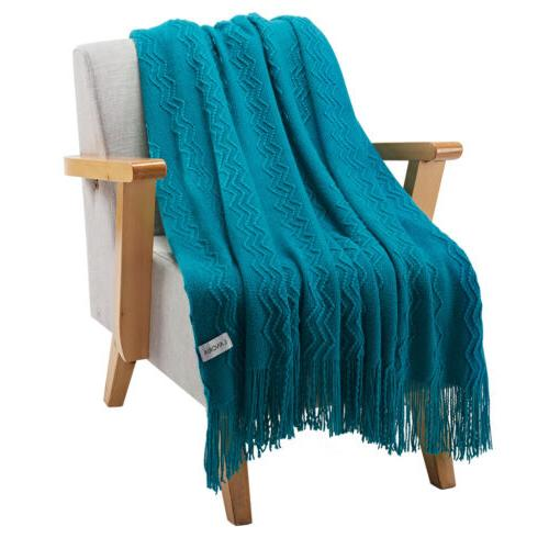 LANGRIA Soft Pattern Fringe Throw Blanket Couch