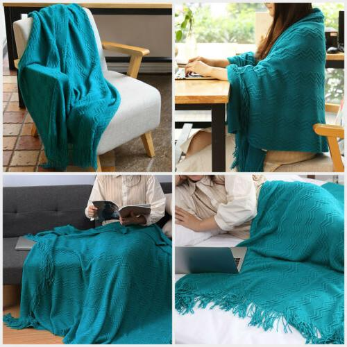 LANGRIA Warm Pattern Knitted Throw Blanket Bed