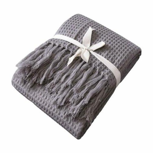 soft woven waffle pattern throw blanket
