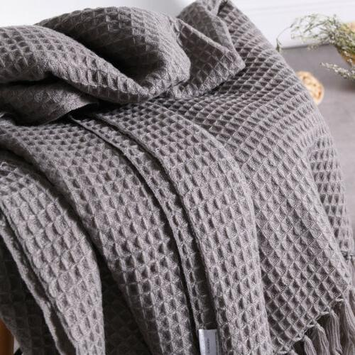 Soft Woven Waffle Pattern Throw Blanket For Sofa and 50x60""