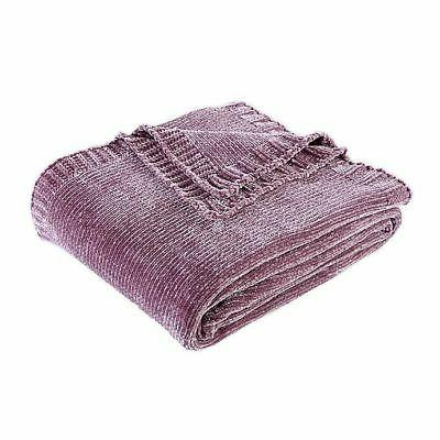 solid chenille throw blanket lavender size 50
