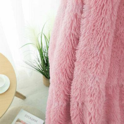 Solid Decorative Long Shaggy Faux Fur Blanket Fuzzy Microfiber Soft