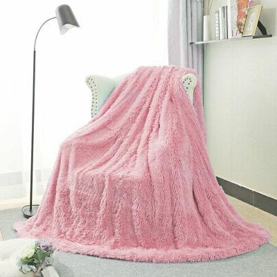 Solid Decorative Faux Blanket Fuzzy Microfiber Lightweight