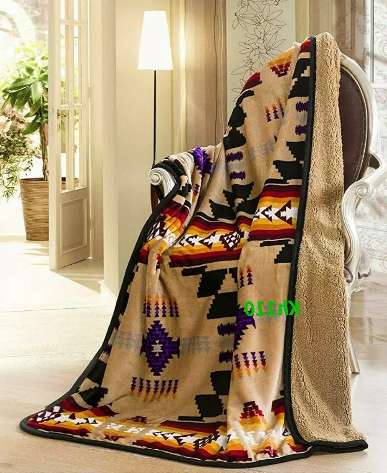Navajo Print Throw Blanket Sherpa Southwest Native American