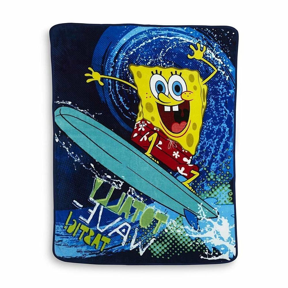 "Spongebob Squarepants Wave Rider Plush Throw Blanket; 46"" X"