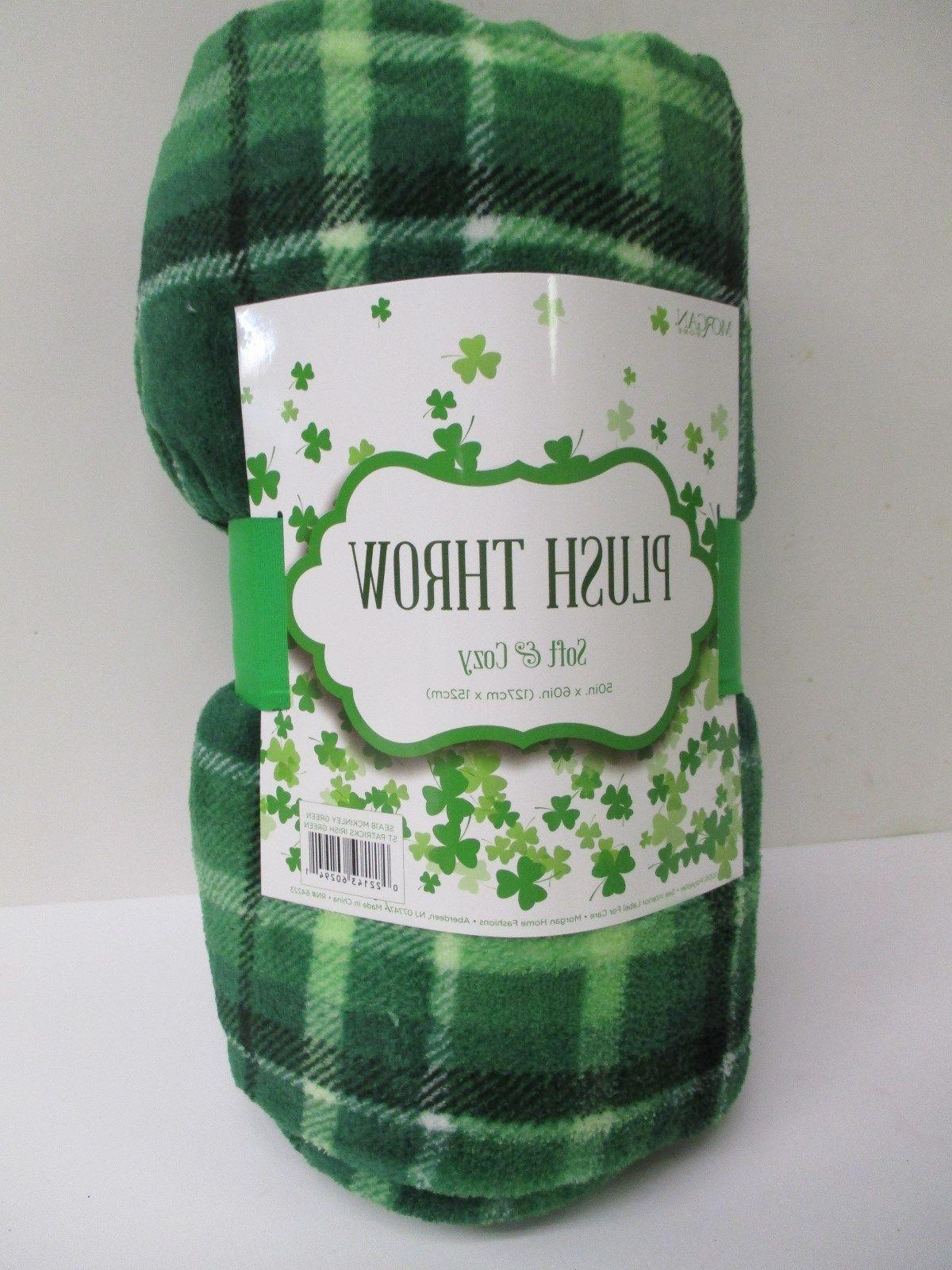 st patricks day green tartan plaid throw