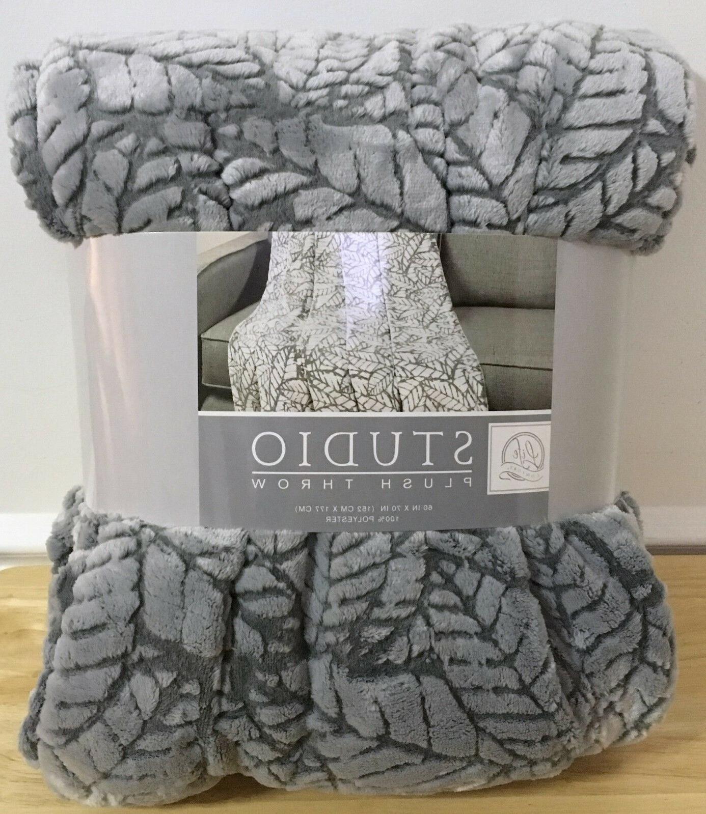 studio plush throw polyester gray