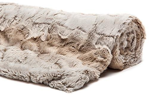 Chanasya Fur Elegant Blanket | Leaf Pattern Plush Cozy Brown for Bed Living Room White