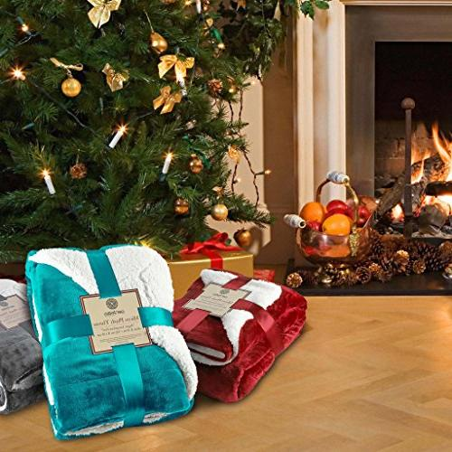 "Genteele Soft Luxurious Sherpa Blanket, 60"" X 70"", Teal"