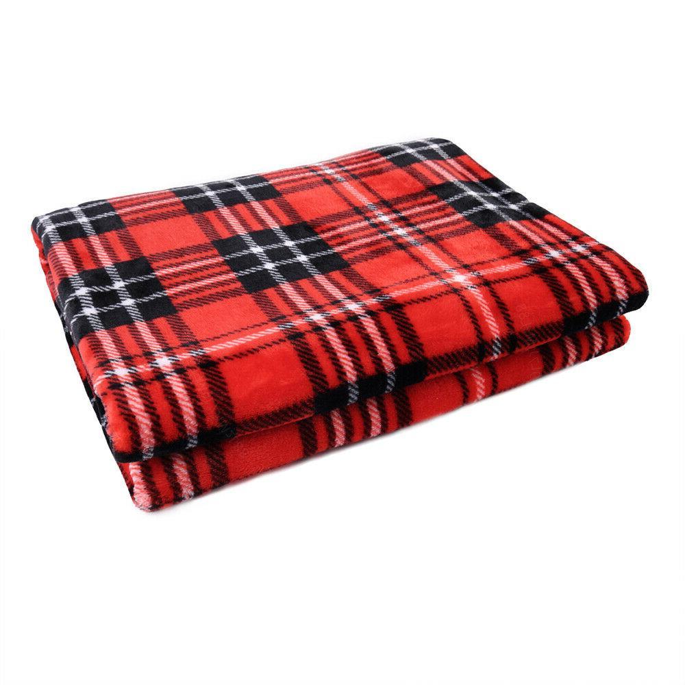 "Plaid Throw Blanket Flannel Fleece Throw for Sofa Couch  50"""